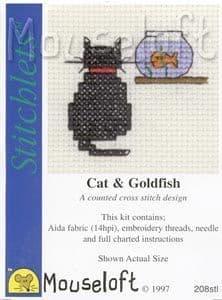 Mouseloft Cat and Goldfish Stitchlets cross stitch kit